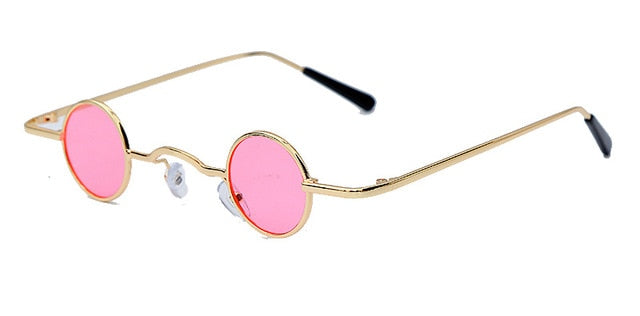 Calanovella Fancy Steampunk Round Sunglasses Funky Steampunk Small Punk Sunglasses for Men Women Vintage Eighties Retro Tiny Oval Round Sun Glasses red,yellow,black,clear black frame,clear gold frame,gold black,pink,champagne 34.99 USD