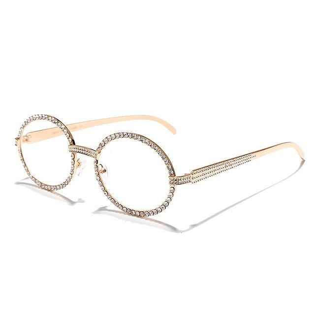 Calanovella Round Sunglasses Diamond Glasses Fashion Sunglasses Stylish Oval New Vintage Fashionable Rhinestone Round Glasses UV400 gold,silver,champagne 34.99 USD