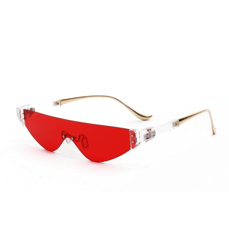 Calanovella Two Toned Rimless Sunglasses Women 2020 Triangular Small Punk Vintage Sunglasses Eighties Retro Men Sun Glasses Eyewear red,yellow,gray,silver 34.99 USD