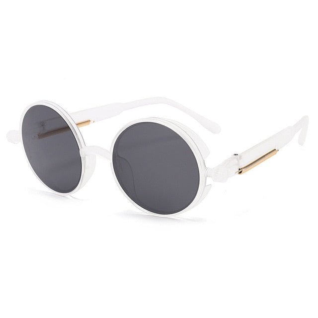 Calanovella Steampunk Round Sunglasses Cool Round Vintage Sunglasses for Men Women Eighties Retro Punk Fashionable Round Oval Steampunk Sun Glasses Stylish New White Metal Frame UV400 black,white blue,brown,white black,black pink,white red,black blue,white yellow,white pink,black purple 34.99 USD