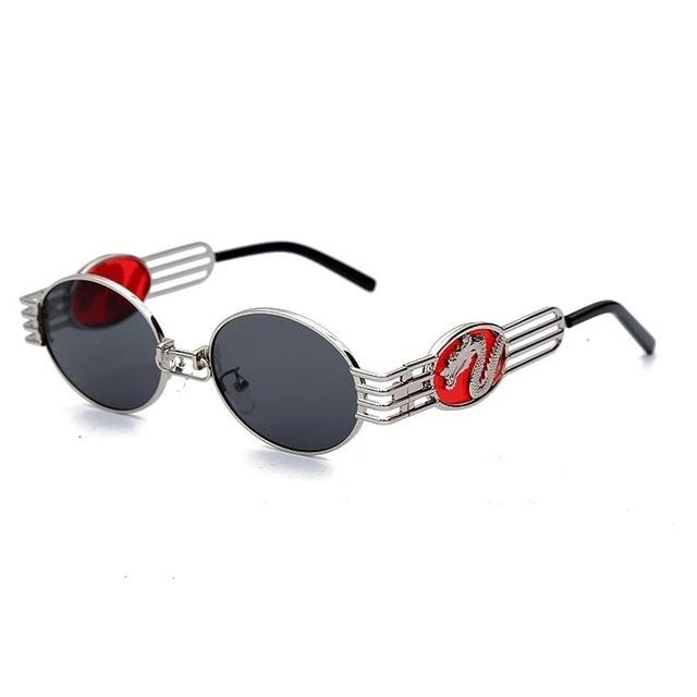 Calanovella Steampunk Round Sunglasses Steampunk Oval Round Sunglasses Mens Womens Cool Stylish Fashionable Dragon Trendy Metal Frames Sun Glasses UV400 silver,gold clear,silver black,gold black,gold red 34.99 USD
