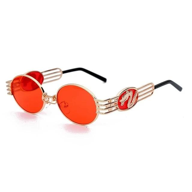 Calanovella Steampunk Round Sunglasses Mens Womens Cool Stylish Fashionable Dragon Trendy Alloy Metal Frames Sun Glasses UV400