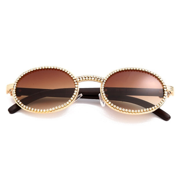 Calanovella Crystal Rhinestones Round Oval Sunglasses for Men Women 2020 Stylish Vintage Retro Oval Bling Sun Glasses