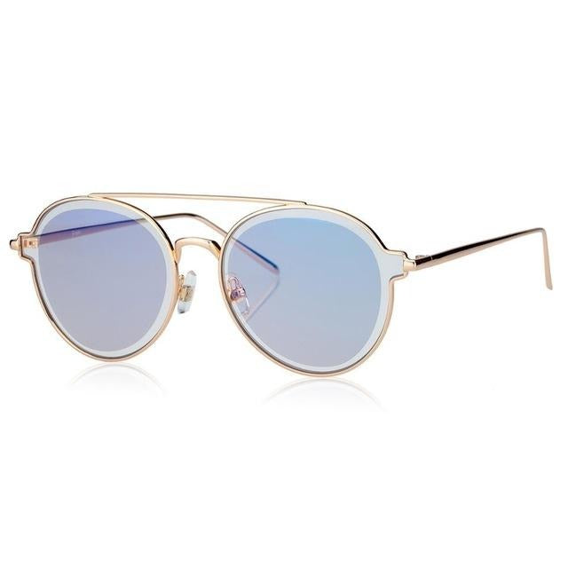 Calanovella Round Sunglasses Men Women Twin-beams Glasses Double PC Lens Brand Designers Clear Lens Eyewear