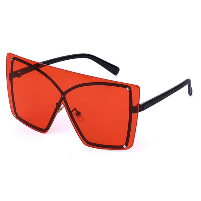 Calanovella Stylish 8 Color Oversized Square Cat Eye Sunglasses Women Red Yellow Gradient Luxury Flat Top Fashionable Rimless Metal Frame Sun Glasses Brand Designer UV400