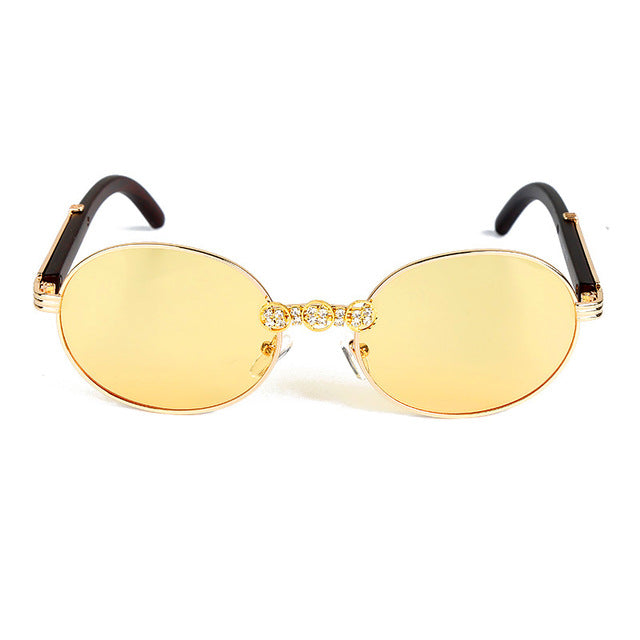 Calanovella Round Sunglasses Diamond Glasses Vintage Wood Frame Diamond Sunglasses Men Women Gorgeous Handmade Round Eyewear UV400 Clear Lens Oval Karen Walker Glasses blue,yellow,red,brown,gray,clear transparent,orange,pink 34.99 USD