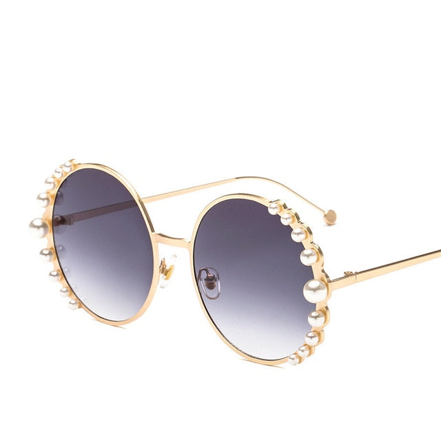 Calanovella Round Sunglasses Stylish Pearl Round Sunglasses for Men Women 2020 Elegant Oval Vintage Pearl Sunglasses Round Eighties Retro Sunglasses UV400 gray,brown,purple,blue,pink,blue pink,champagne,black 39.99 USD