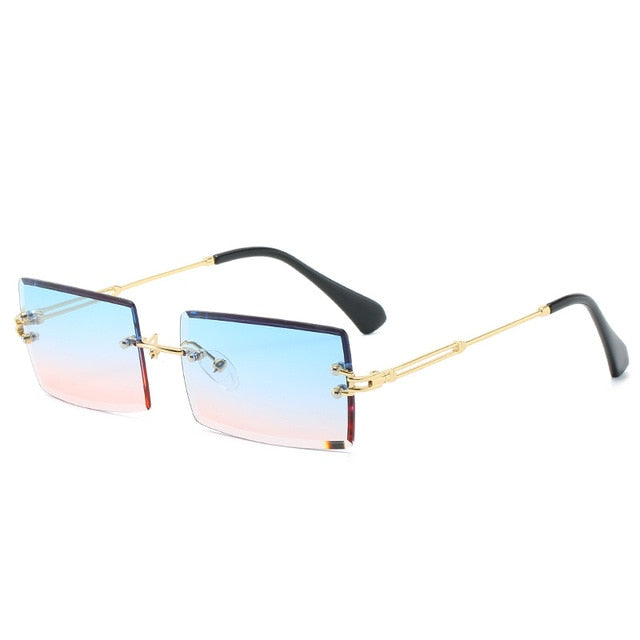 Calanovella Trendy Rectangle Vintage Gradient Sunglasses for Men Women Stylish Eighties Retro Two Toned Rimless Square Rectangle New Men Women's Sun Glasses purple,brown,pink,blue,blue pink,green,clear 34.99 USD