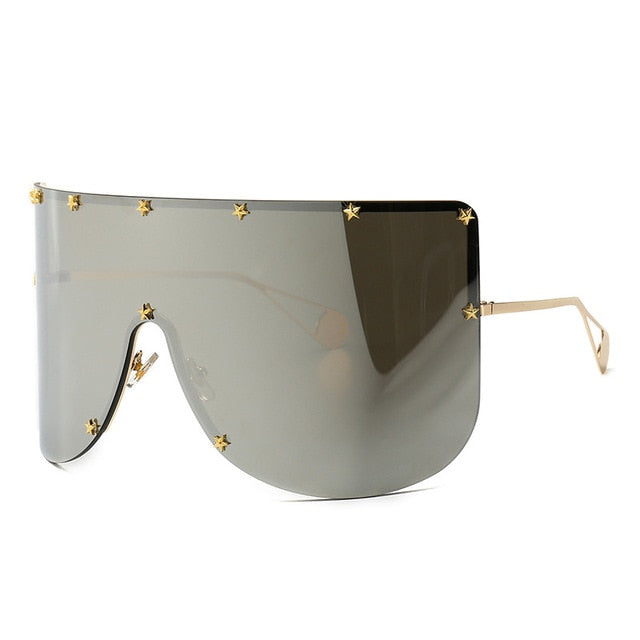 Calanovella Stylish Overzised Star Bling Visor Shield Sunglasses for Men Women Trendy Big Frame Vintage One Piece Mirror Tinted Cool Eyewear black,rainbow,blue,red,silver,yellow,brown 34.99 USD