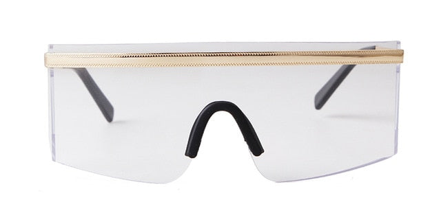 Calanovella Stylish New 2020 Oversized Futuristic Shield Sunglasses for Men Women Cool Eighties Retro Vintage Big Frame One Piece Visor Sun Glasses UV400 gold black,gun clear,gold clear,gold red,gold brown,gun gray,gold pink,gold yellow 39.99 USD