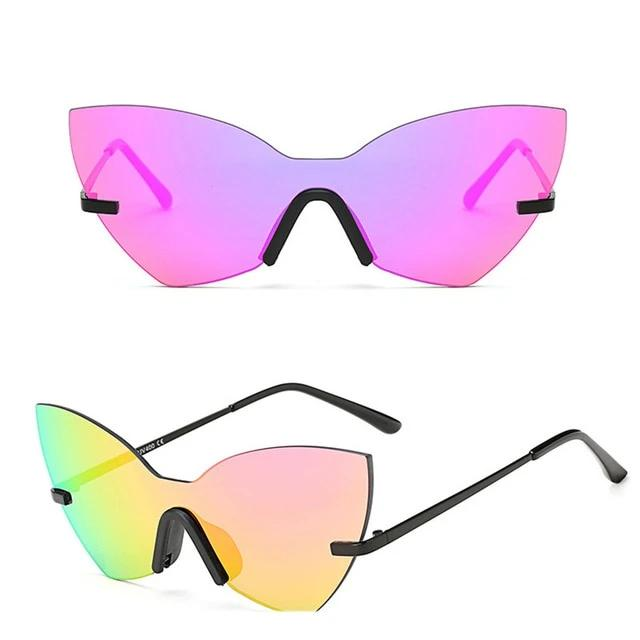 Calanovella Cat Eye Stylish Cat Eye Sunglasses for Men Women 2020 Gradient Mirror Men Women's Anti-Refective Two Toned Rimless New Sunglasses UV400 black,brown,pink,gradient gray,blue,silver,rose purple 39.99 USD