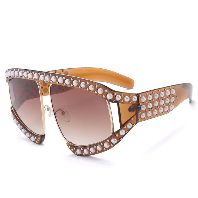 Calanovella Diamond Glasses Men Women Sunglasses Fashion Pearl Diamond Oversized Sunglasses New Stylish Men Womens White Beaded Pearl Stylish Oversize Shades Fashionable Large Frame Men Women Style Big Sun Glasses UV400 black,clear,brown,rainbow,light brown,red 39.99 USD