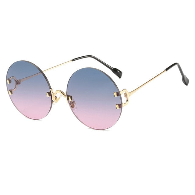 Calanovella Vintage Round Sunglasses Ocean Color Lens Mirror Sun Glasses Designer Metal Frame Circle Glasses