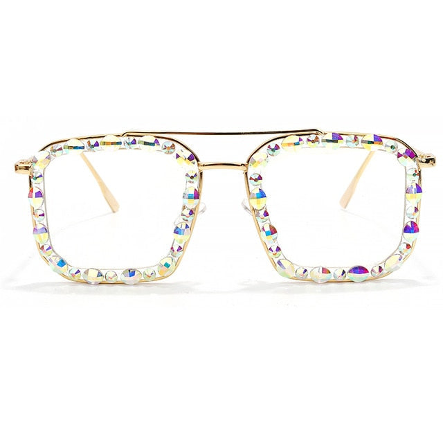 Calanovella Stylish Square Crystal Rhinestones Sunglasses UV400