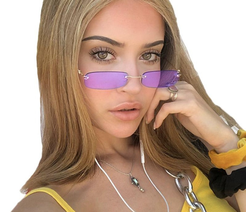 Calanovella Two Toned Rimless New Fashion Style Small Punk Rectangle Narrow Rectangular Tint Sunglasses UV400 black,pink,purple,orange,brown,red,blue,clear,yellow 34.99 USD