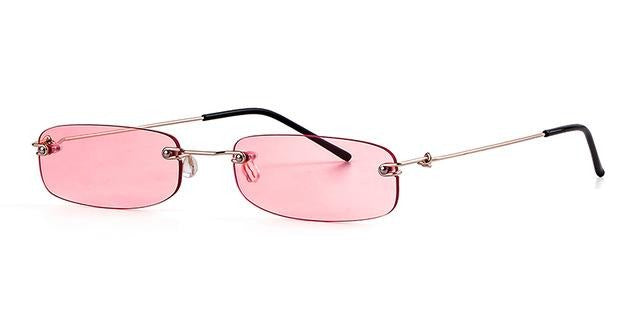 Calanovella Rimless New Fashion Designer Style Small Rectangle Narrow Rectangular Tint Sunglasses UV400
