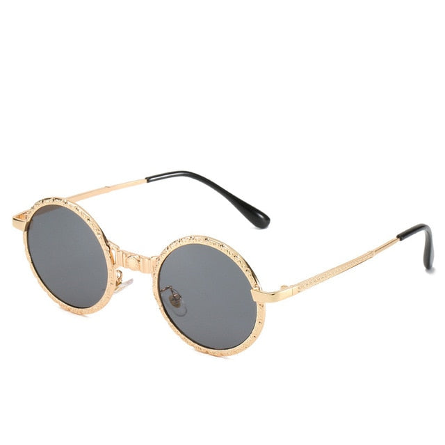 Calanovella Steampunk Round Sunglasses Oval Round Steampunk Sunglasses Cool Frame Oval Round Vintage Eighties Retro 2020 for Men Women black,gold black,silver,black red,gold red,brown,blue 34.99 USD