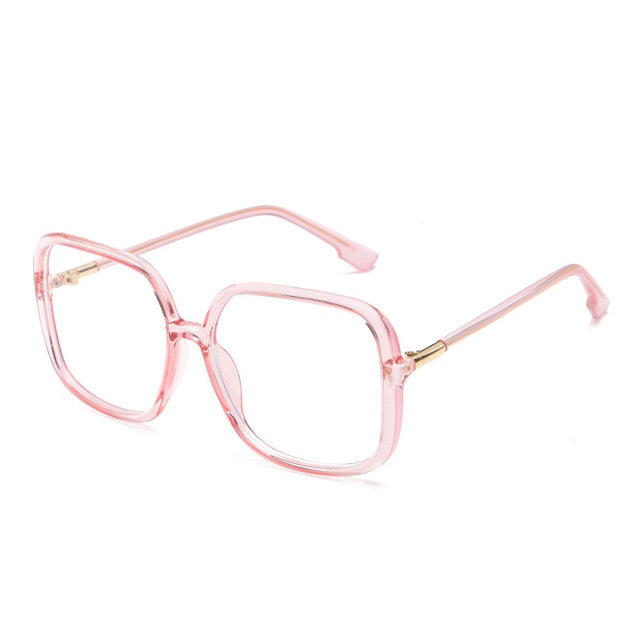 Calanovella Oversized Square Anti-blue Light Glasses for Men Women New Eighties Retro Black Clear Big Office Business Transparent Computer Eyeglasses UV400 black clear,pink clear,white clear,leopard clear 34.99 USD