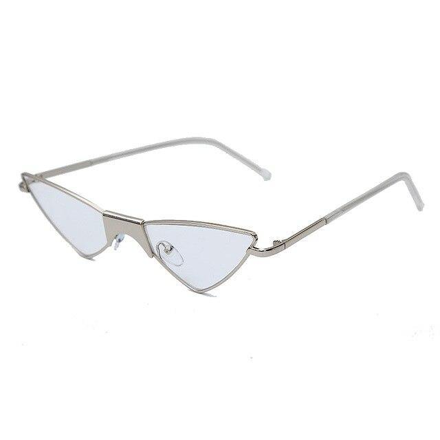 Calanovella Cat Eye Cool Small Punk Cat Eye Sunglasses for Men Women Stylish Triangle Fashionable Clear Lens Metal Frame Glasses UV400 blue,silver black,clear,champagne,black,black clear,red,yellow 34.99 USD