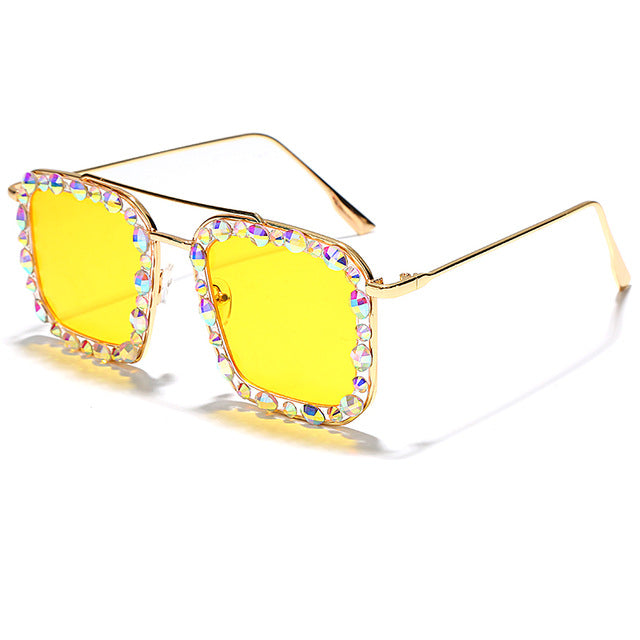 Calanovella Diamond Glasses Men Women Sunglasses Fashion Diamond Oversized Sunglasses Stylish Men Women's Fashionable Stunning Rhinestone Gold Square Vintage Oversize Big Squared Style Glasses UV400 yellow,pink,champagne,silver clear,gold clear 34.99 USD