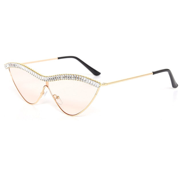 Calanovella Stylish Cat Eye Triangle Rhinestones Sunglasses UV400