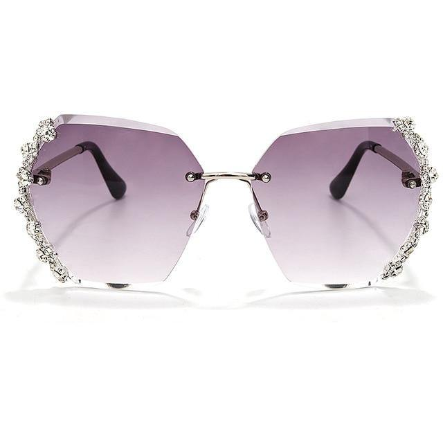 Calanovella Diamond Glasses Men Women's Diamond Rhinestones Two Toned Rimless Sunglasses Trendy New Fashionable Diamond Cut Design Shades for Men Women clear,gray,brown,purple,champagne 39.99 USD