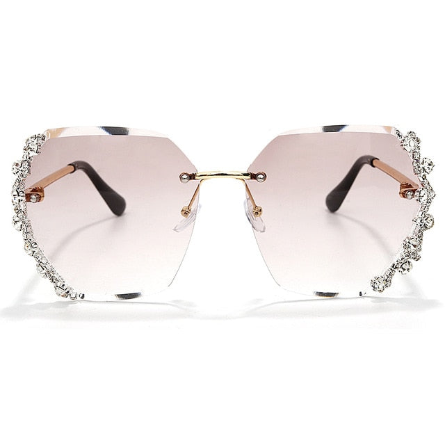 Calanovella Stylish Crystal Diamond Rhinestones Rimless Oversized Sunglasses