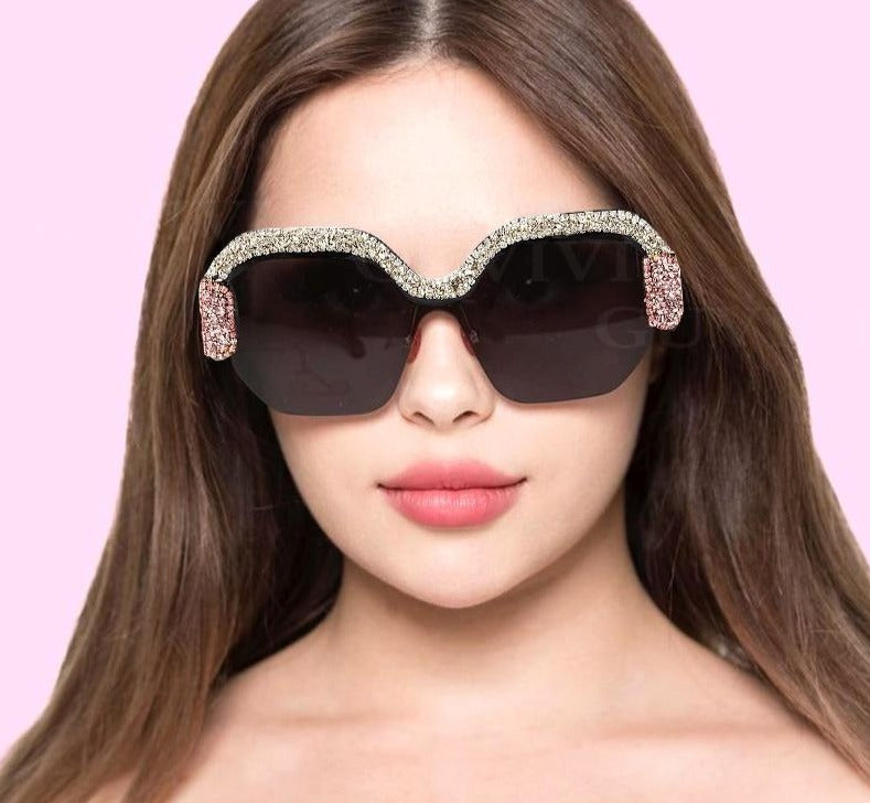 Calanovella New Glitter Square Sunglasses for Women 2020 Trendy Oversized Bling Crystal Diamond Rhinestone Gradient Sunglasses