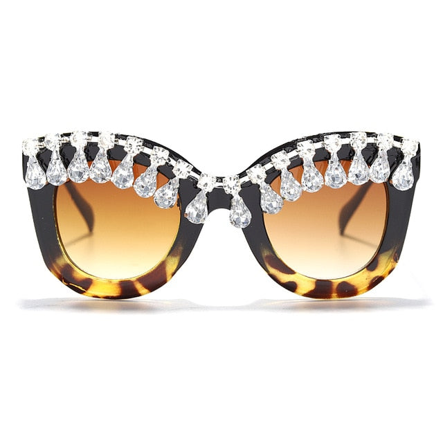 Calanovella Cat Eye Diamond Glasses Stylish Men Women's Sunglasses with Rhinestones 2020 Trendy Square Cat Eye Diamond Oversized Sunglasses UV400 black,red,leopard a,leopard b,white frame 39.99 USD