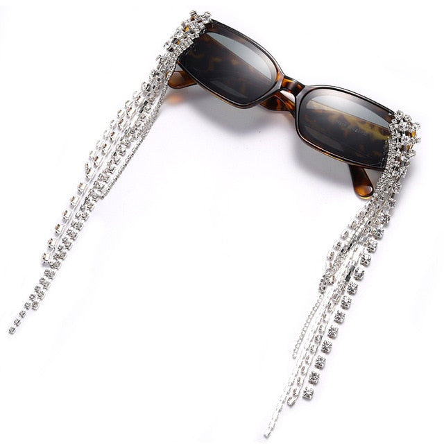 Calanovella Fancy Steampunk Diamond Glasses Funky Vintage Tassel Rhinestones Sunglasses for Men Women 2020 New Design Steampunk Diamond Sun Glasses UV400 red,blue,white,green,leopard,black,yellow,orange,brown 34.99 USD