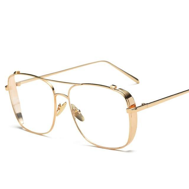 Calanovella Fashion Oversized Glasses Frame Men Women New Luxury Retro Square Flat Mirror Gold Silver Frame Clear Lens Sunglasses UV400