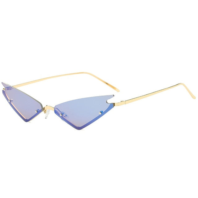 Calanovella Rimless Steampunk Triangle Cat Eye Sunglasses Vintage Retro Mirror Shades UV400