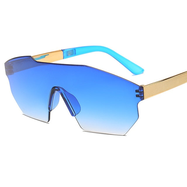 Calanovella Women Stylish Blue Pink Oversized Frame Gradient Frameless Irregular Lightly Tinted Sunglasses UV400