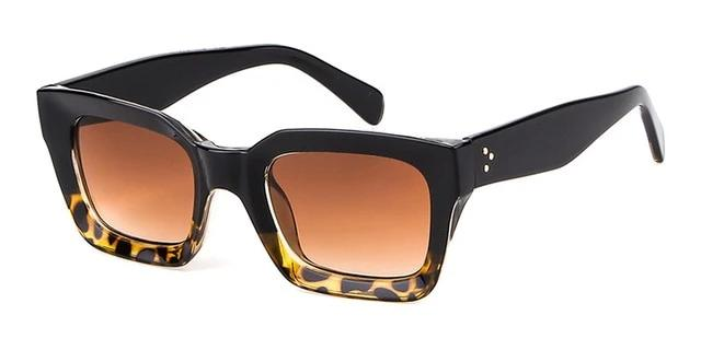 Calanovella 2020 Vintage Oversized Square Sunglasses for Men Women Transparent Eighties Retro Square Style Design Tortoiseshell Frame Sun Glasses sand black,bright black,transparent frame,fire leopard,leopard,beige brown 34.99 USD