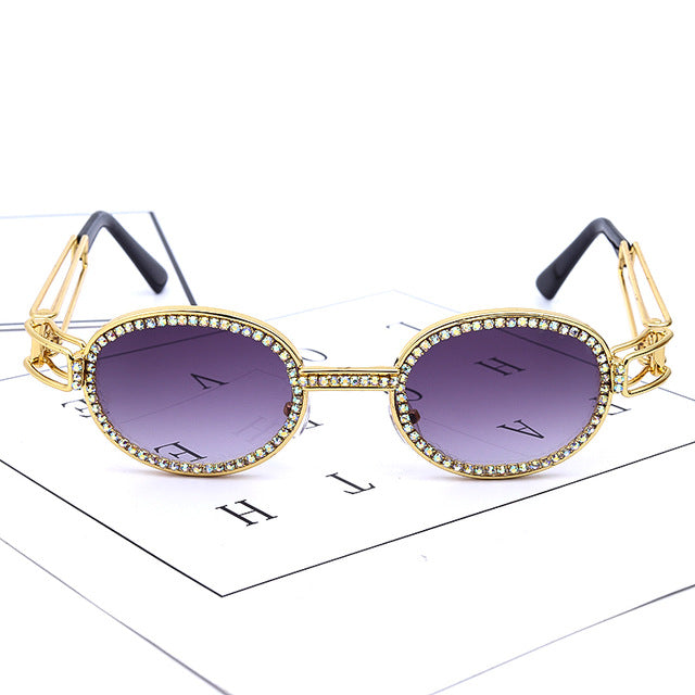 Calanovella Steampunk Round Sunglasses Diamond Glasses Fashion Diamond Sunglasses Men Women Stylish Small Punk Round Oval Rhinestones Classic Steampunk Sun Glasses Vintage Shades UV400 gold silver,gold yellow,gold purple,gold pink,gold red,gold clear,gold black 34.99 USD
