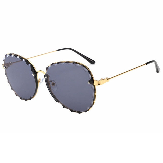 Calanovella Aviator Stylish Pilot Sunglasses for Men Women Two Toned Rimless Vintage Gradient Wave Men Women's Trendy Sunglasses UV400 black,pink,blue,gold clear,gray,brown,green,pink mirror 34.99 USD