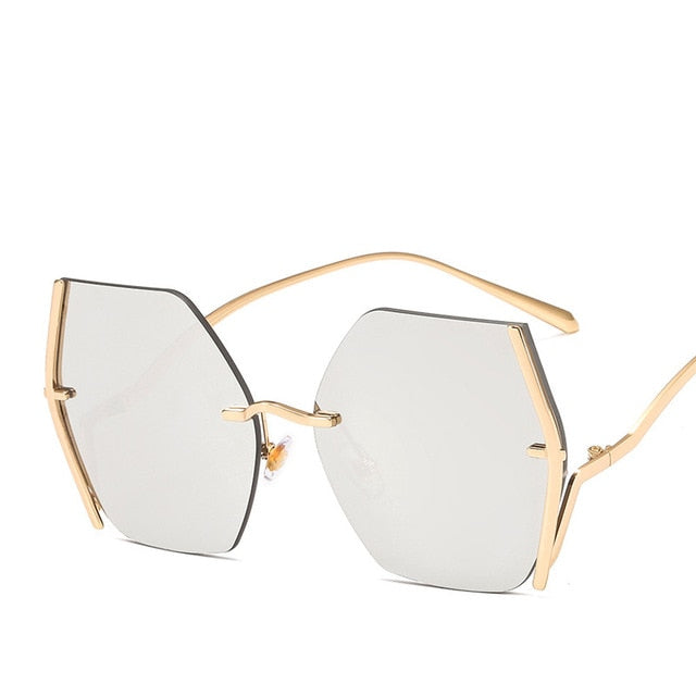 Calanovella Stylish Men Women's Oversized Two Toned Rimless Sunglasses Trendy Metal Frame Square Gradient Big Shades for Men Women UV400 black,gray,brown,silver,pink,purple,pink gray,blue pink,purple yellow 39.99 USD