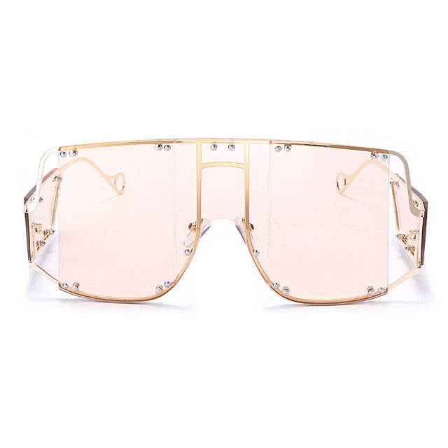 Calanovella Steampunk Men Women Sunglasses Fashion Oversized Sunglasses for Men Women New Stylish Large Frame Steampunk Big Square Shades Men Women's Fashionable Style Oversize Sun Glasses UV400 pink mirror,red,green,black,brown,yellow,pink,clear,champagne,light pink 39.99 USD