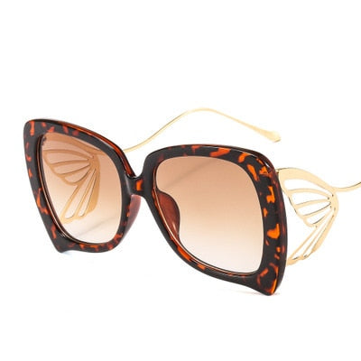 Calanovella Men Women Sunglasses Fashionable Butterfly Elegant Sunglasses for Men Women Cool Big Oversized Men Women's Shades UV400 black,leopard,silver,pink,purple,blue pink,light brown 34.99 USD