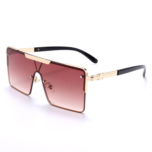 Calanovella Vintage Square Sunglasses Men Women Fashion Mirror One Piece Goggle Sun Glasses Male Ladies Eyeglasses UV400 black,gold,gray,brown,silver,green 34.99 USD