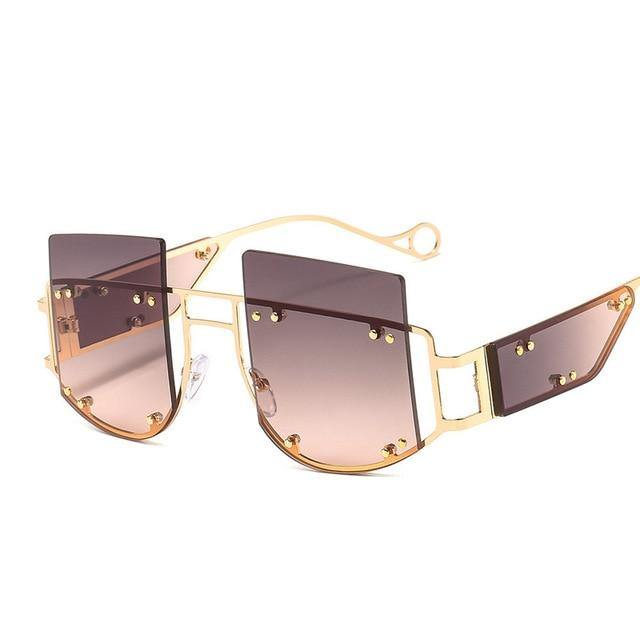 Calanovella Luxury Fashion Oversized Sunglasses Women's Stylish Oversize Rimless Rivets Decor Tinted Lens Gold Frame Designer Style Stunning Frameless Gold Glasses High Fashion UV400