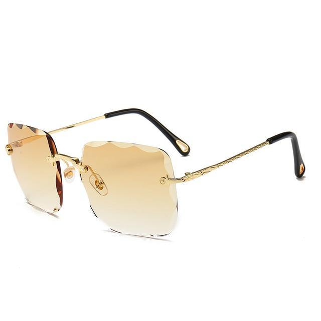 Calanovella Rimless Rectangle Sunglasses Women Men Fashion Trimming Wave Lens Sun Glasses - Calanovella.com
