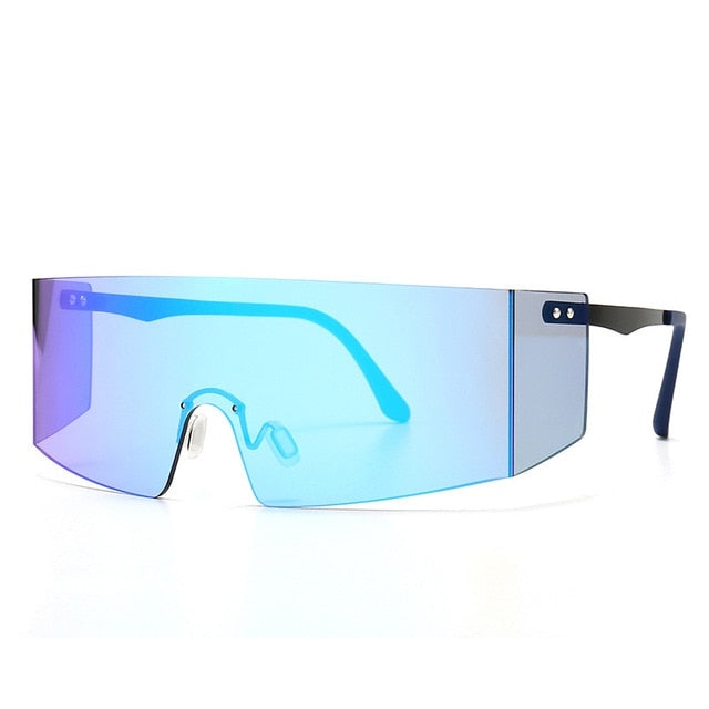 Calanovella Stylish Oversized Big Shield Sunglasses for Men Women 2020 Large Frame One Piece Futuristic Shades UV400 black,gold black,yellow,brown,clear,red,blue,purple,pink,rainbow 39.99 USD