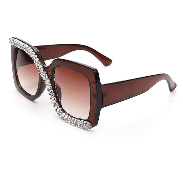 Calanovella Cross Diamond Glasses Cross Square Rhinestone Sunglasses Men Women Vintage Oversized Sunglasses One Piece Diamond Glasses Shades UV400 gold black,silver black,gold brown,silver brown 39.99 USD