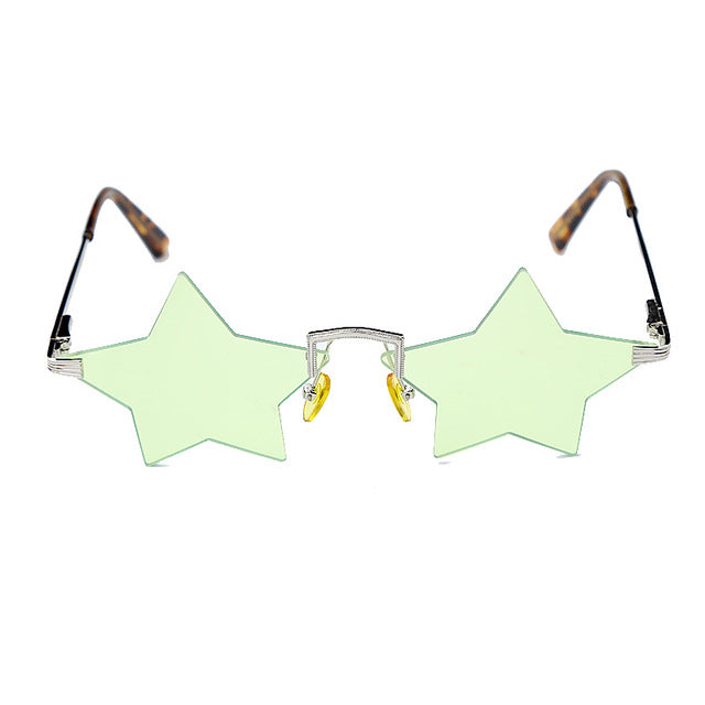 Calanovella Fancy Steampunk Funky Star Sunglasses Men Women Steampunk Two Toned Rimless Vintage Trendy Fashion Small Retro Glasses green,black,purple,yellow,blue,gold 34.99 USD