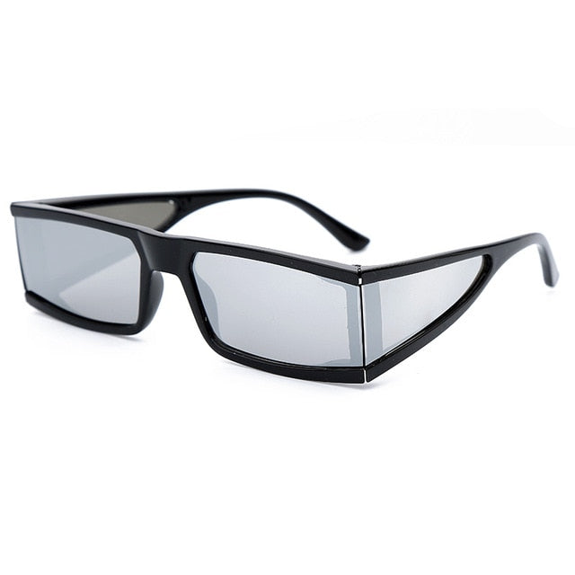 Calanovella Men Women Sunglasses Fashionable Rectangle Small Punk Sunglasses for Men Women 2020 Stylish Mirror Silver Black Clear Lens One Piece Punk Square Rectangular Shades UV400 black silver,black,white black,silver,brown 34.99 USD