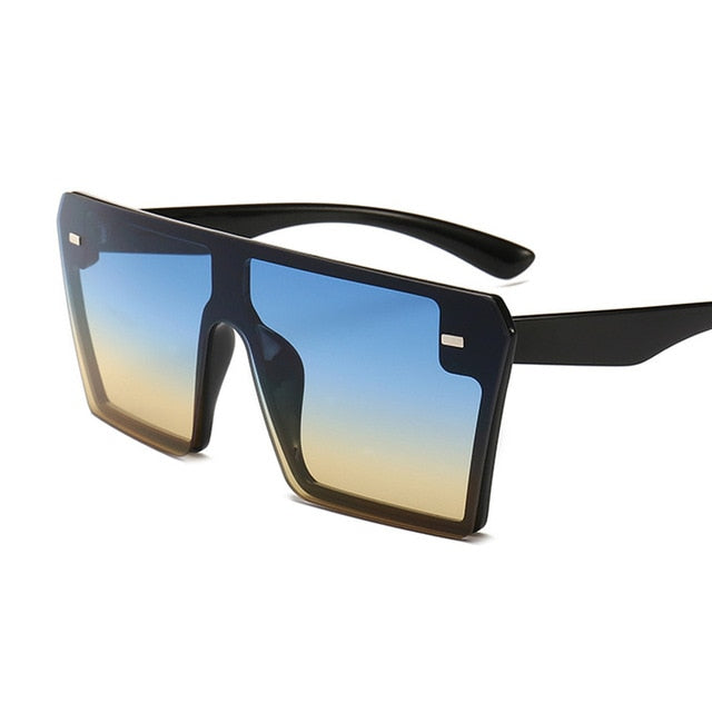 Calanovella Stylish Oversized Square Sunglasses for Men Women 2020 Trendy Flat Top Red Black Clear Lens One Piece Men Women's Square Shades UV400 gray,leopard,red,yellow,black,white blue,blue yellow,silver mirror,transparent orange,transparent blue,transparent purple,transparent red 34.99 USD