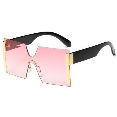 Calanovella Fashionable Oversized Square Two Toned Rimless Sunglasses for Men Women Flat Top Big One Piece Sun Glasses black,yellow,gold black,blue,leopard,gray pink,purple orange,red,pink,brown 34.99 USD