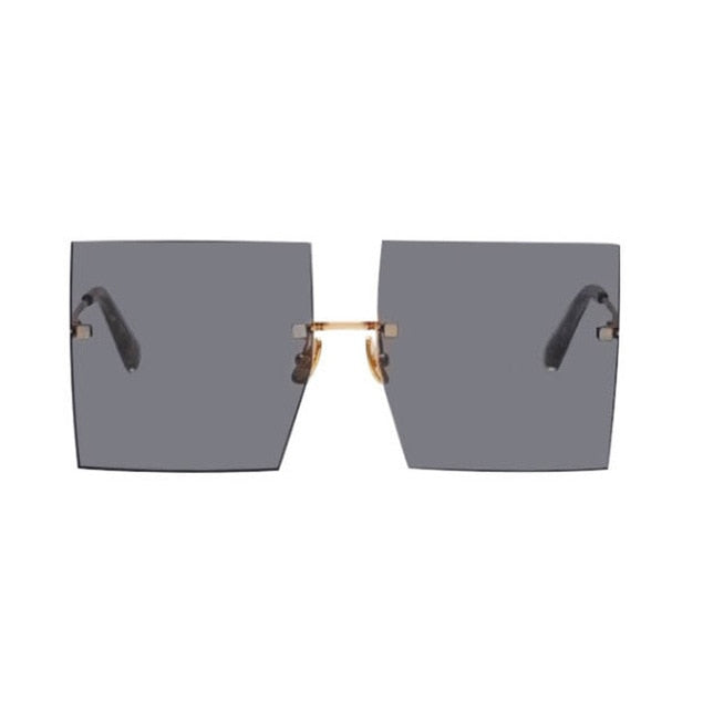 Calanovella Stylish 6 Color Fashionable Two Toned Rimless Square Oversized Sunglasses Men Women New Fashion Flat Top Trendy Big Shades UV400 blue,champagne,brown,orange,red,black 34.99 USD