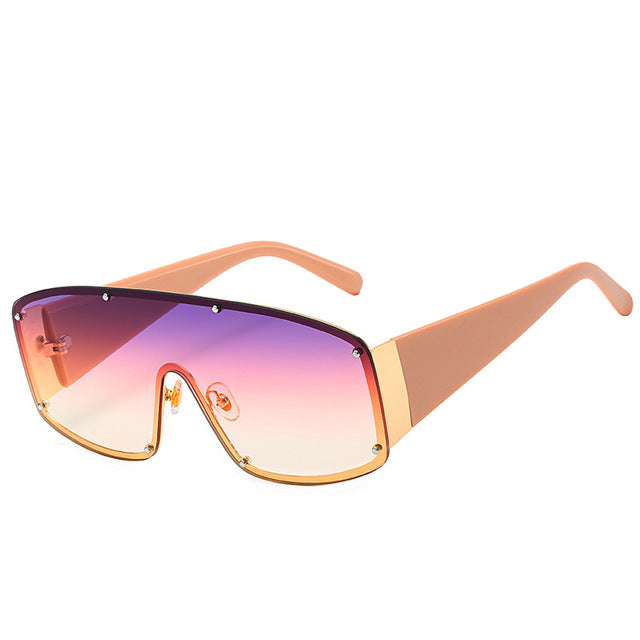Calanovella Stylish 7 Color One-piece Trendy Oversized Sunglasses Women Men Rivets Goggles Sun Glasses Gradient Square Vintage Brand Designer UV400